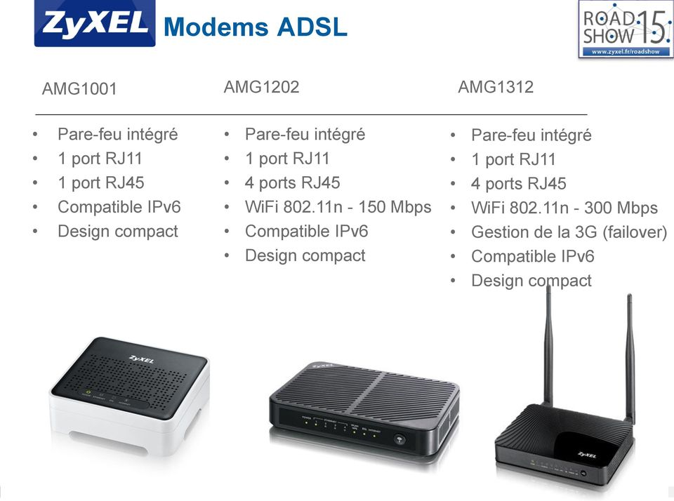 11n - 150 Mbps 11n - 300 Mbps Gestion de la 3G (failover) Compatible IPv6 Design