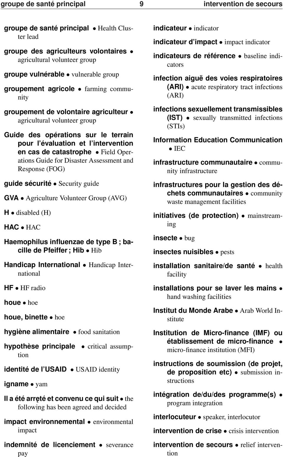 Field Operations Guide for Disaster Assessment and Response (FOG) guide sécurité Security guide GVA Agriculture Volunteer Group (AVG) H disabled (H) HAC HAC Haemophilus influenzae de type B ; bacille