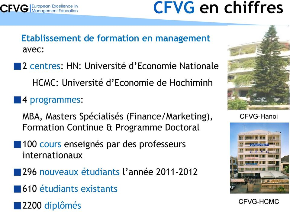 (Finance/Marketing), Formation Continue & Programme Doctoral CFVG-Hanoi 100 cours enseignés par des