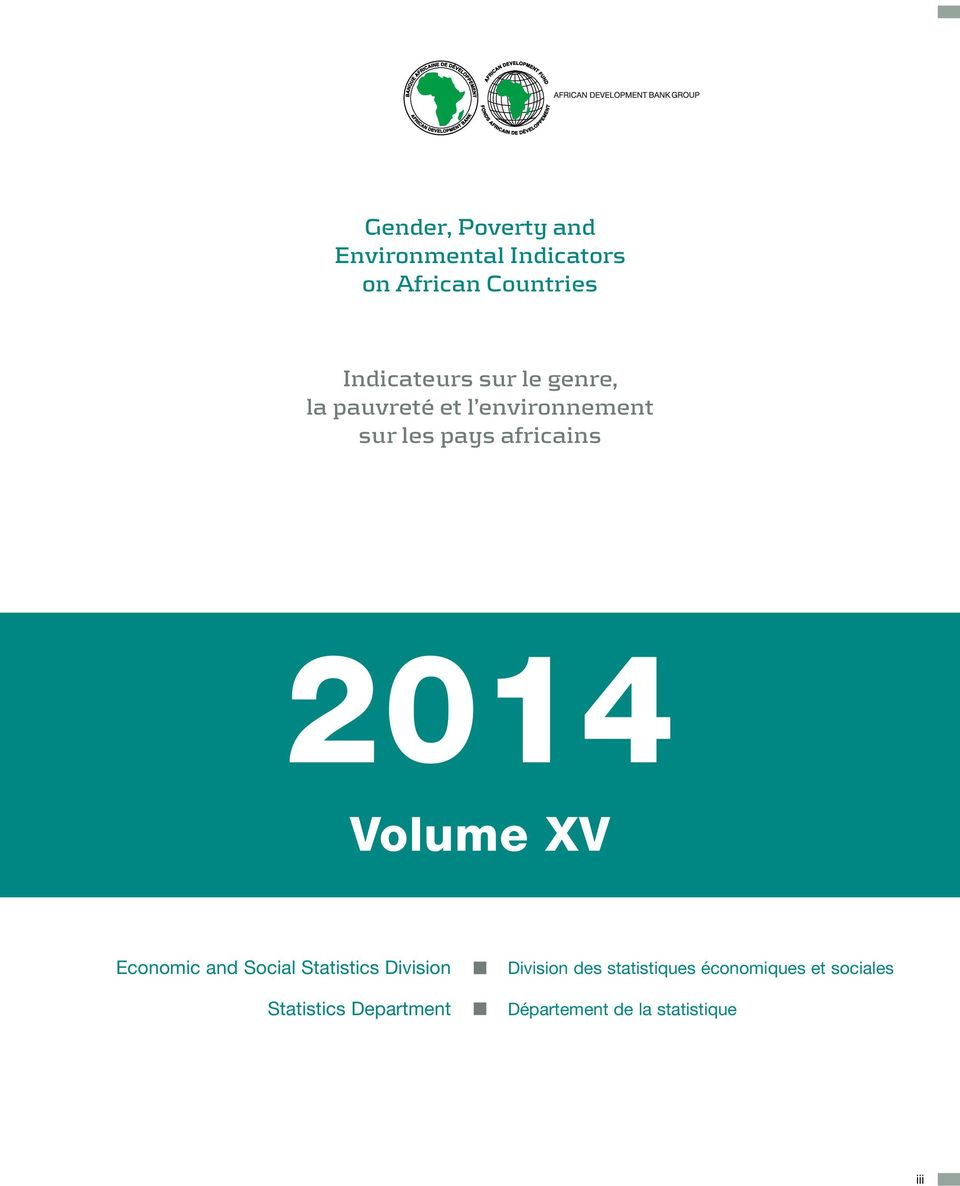 africains 214 Volume XV Economic and Social Statistics Division Statistics