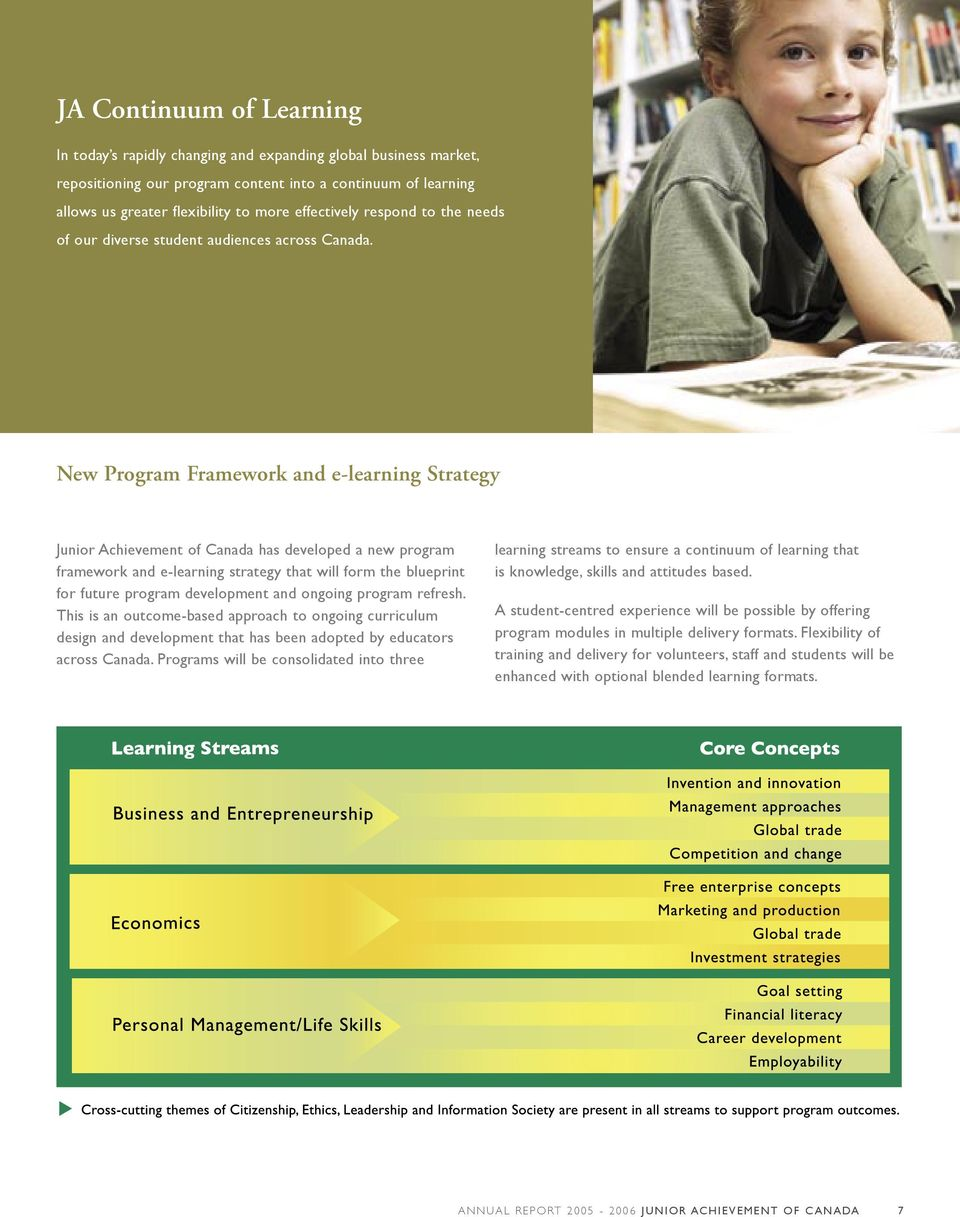 New Program Framework and e-learning Strategy Junior Achievement of Canada has developed a new program framework and e-learning strategy that will form the blueprint for future program development