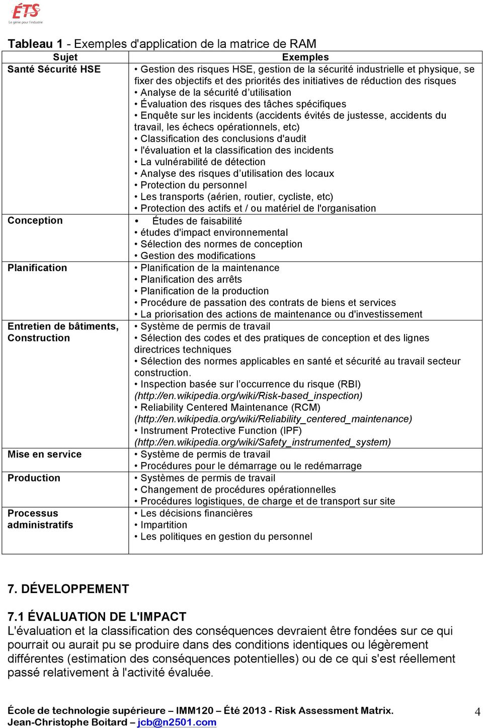 accidents du travail, les échecs opérationnels, etc) Classification des conclusions d'audit l'évaluation et la classification des incidents La vulnérabilité de détection Analyse des risques d
