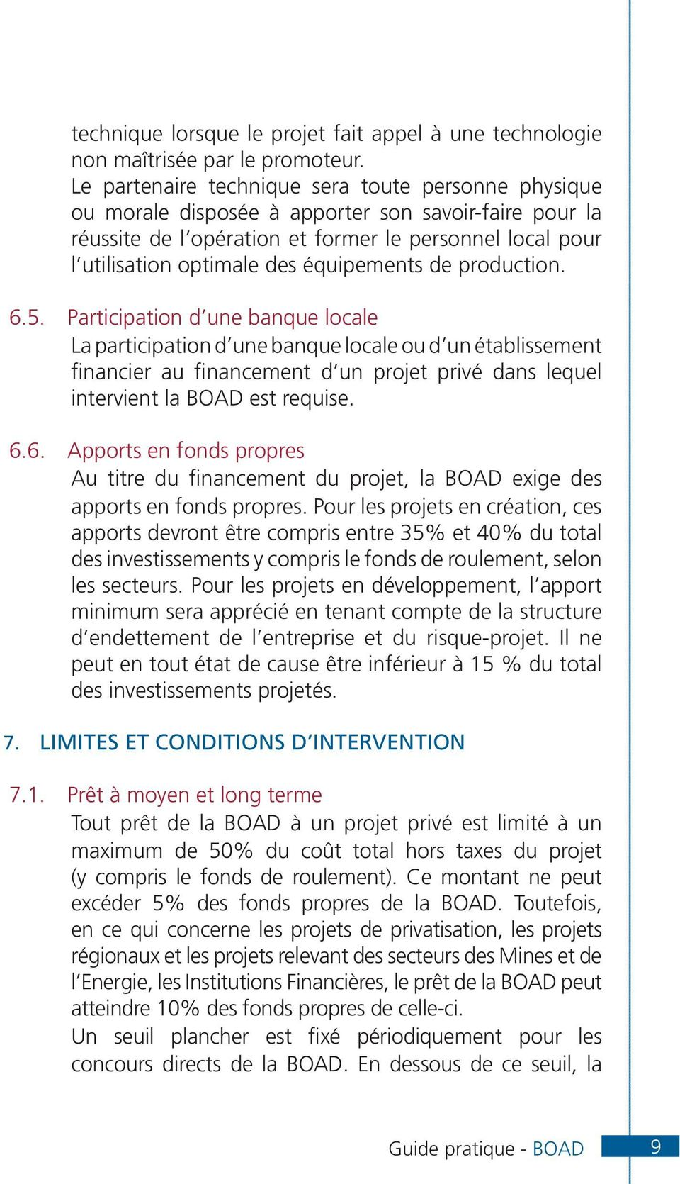 équipements de production. 6.5.