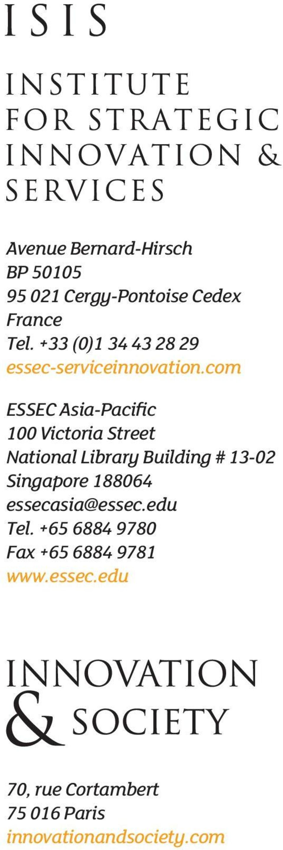 com ESSEC Asia-Pacific 100 Victoria Street National Library Building # 13-02