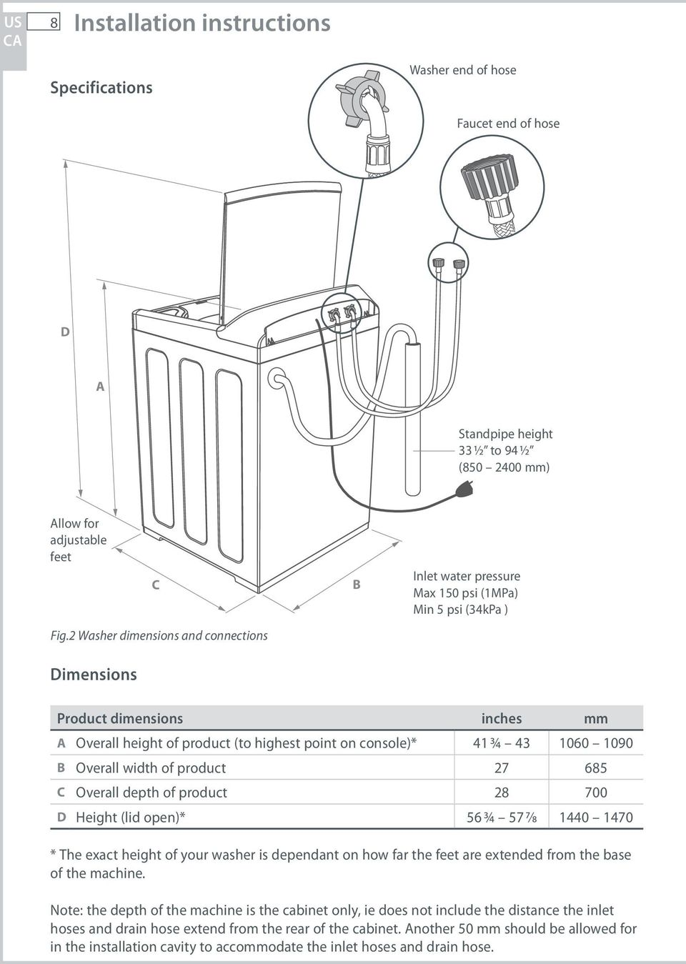 3/4 43 1060 1090 B Overall width of product 27 685 C Overall depth of product 28 700 D Height (lid open)* 56 3/4 57 7/8 1440 1470 * The exact height of your washer is dependant on how far the feet