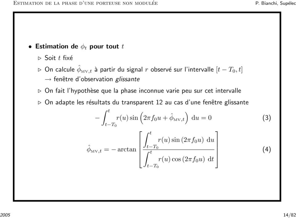 Synchronisation en communications num riques pdf for Fenetre glissante