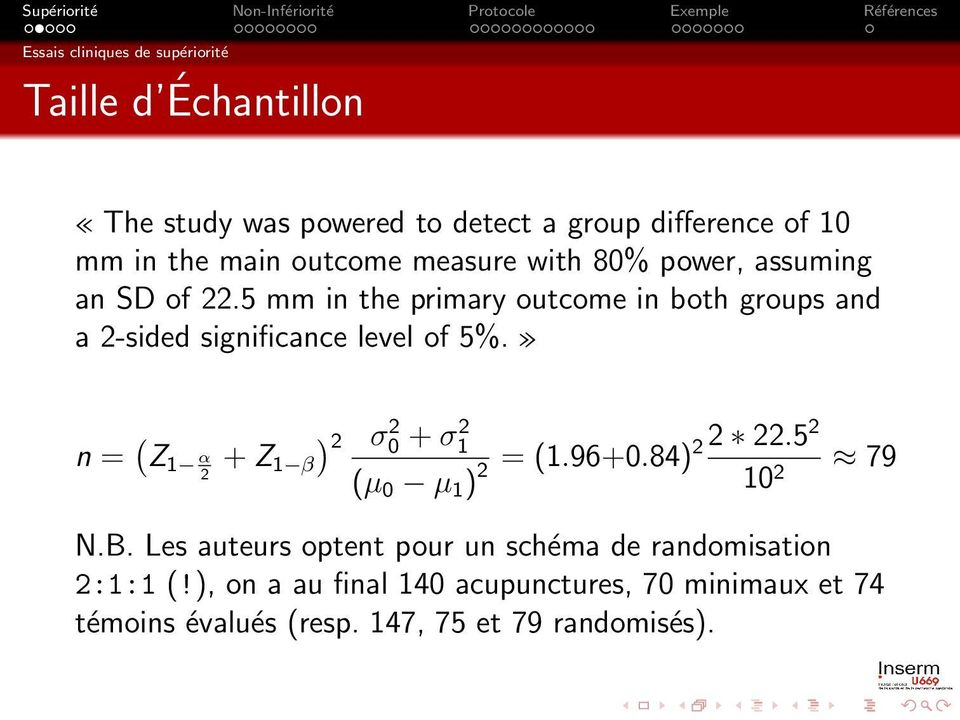 5 mm in the primary outcome in both groups and a 2-sided significance level of 5%.» n = ( Z 1 α + Z ) 2 σ0 2 + σ1 2 2 22.