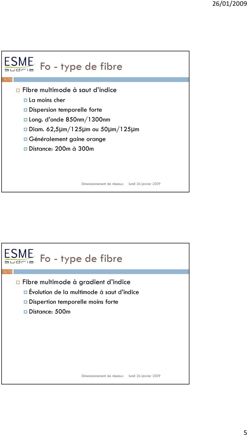 62,5µm/125µm ou 50µm/125µm Généralement gaine orange Distance: 200m à 300m Fo - type de