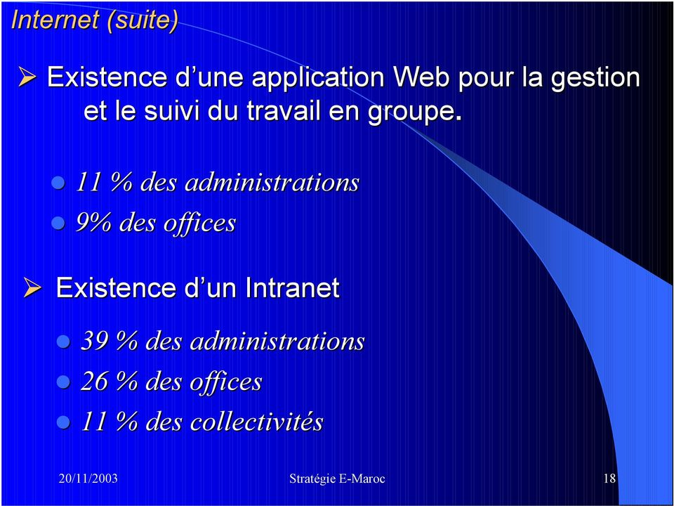 11 % des administrations 9% des offices Existence d un d Intranet