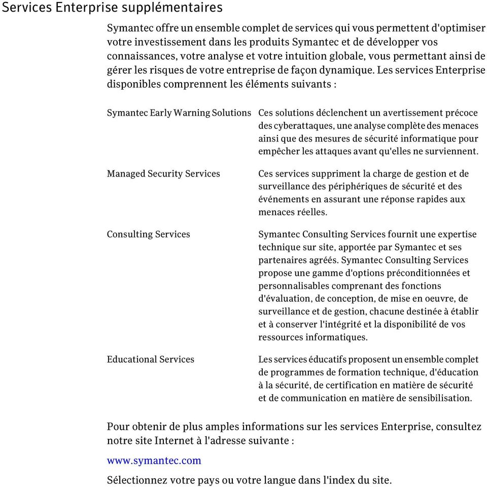 Les services Enterprise disponibles comprennent les éléments suivants : Symantec Early Warning Solutions Managed Security Services Consulting Services Educational Services Ces solutions déclenchent