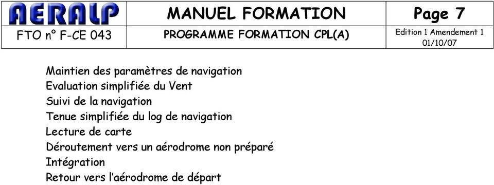 simplifiée du log de navigation Lecture de carte Déroutement