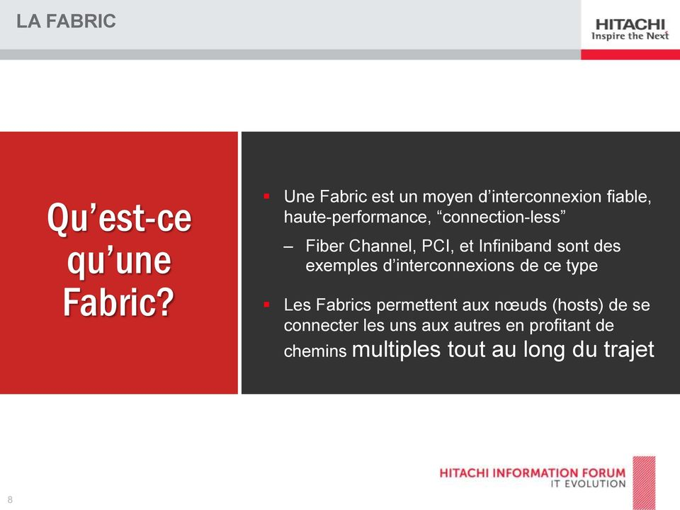connection-less Fiber Channel, PCI, et Infiniband sont des exemples d