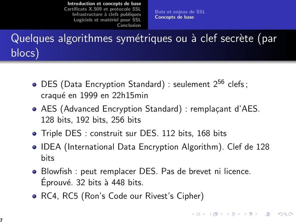 128 bits, 192 bits, 256 bits Triple DES : construit sur DES. 112 bits, 168 bits IDEA (International Data Encryption Algorithm).