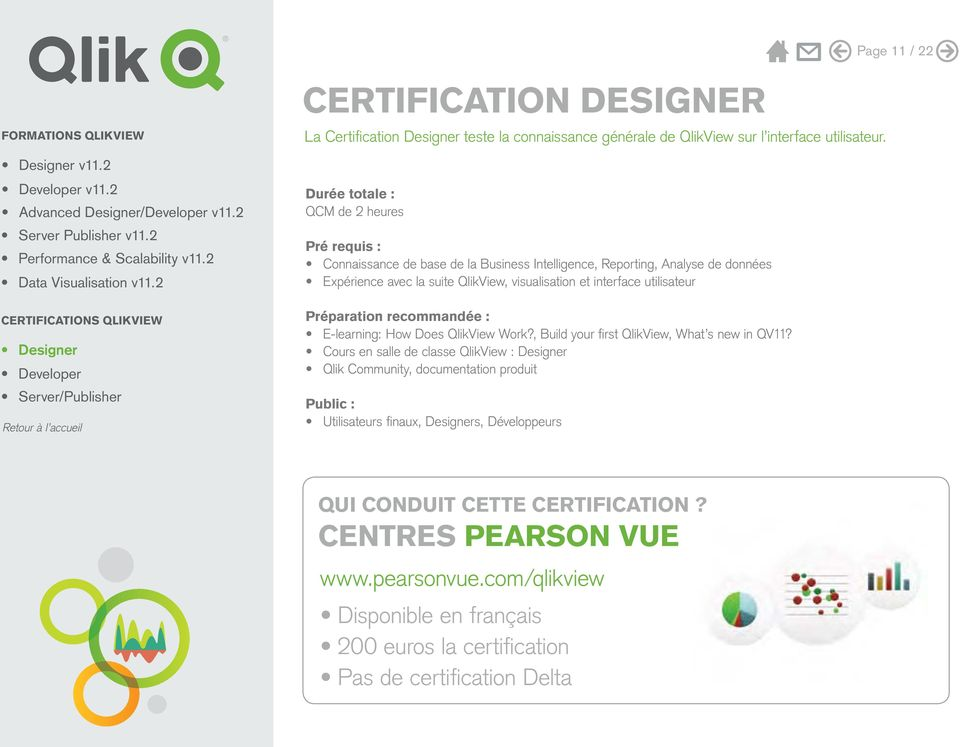 CERTIFICATIONS QLIKVIEW Préparation recommandée : E-learning: How Does QlikView Work?, Build your first QlikView, What s new in QV11?
