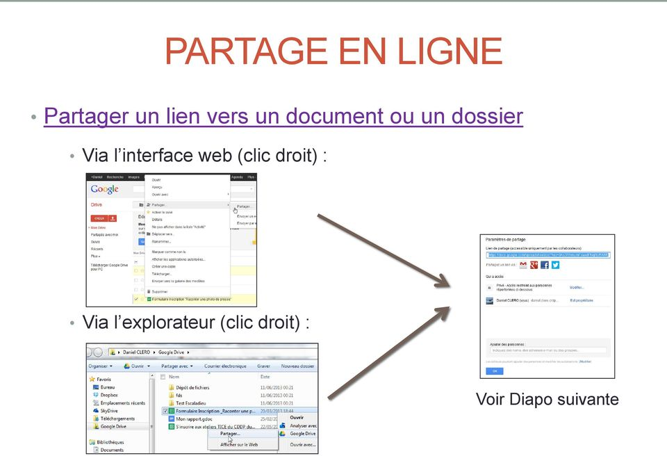 interface web (clic droit) : Via l