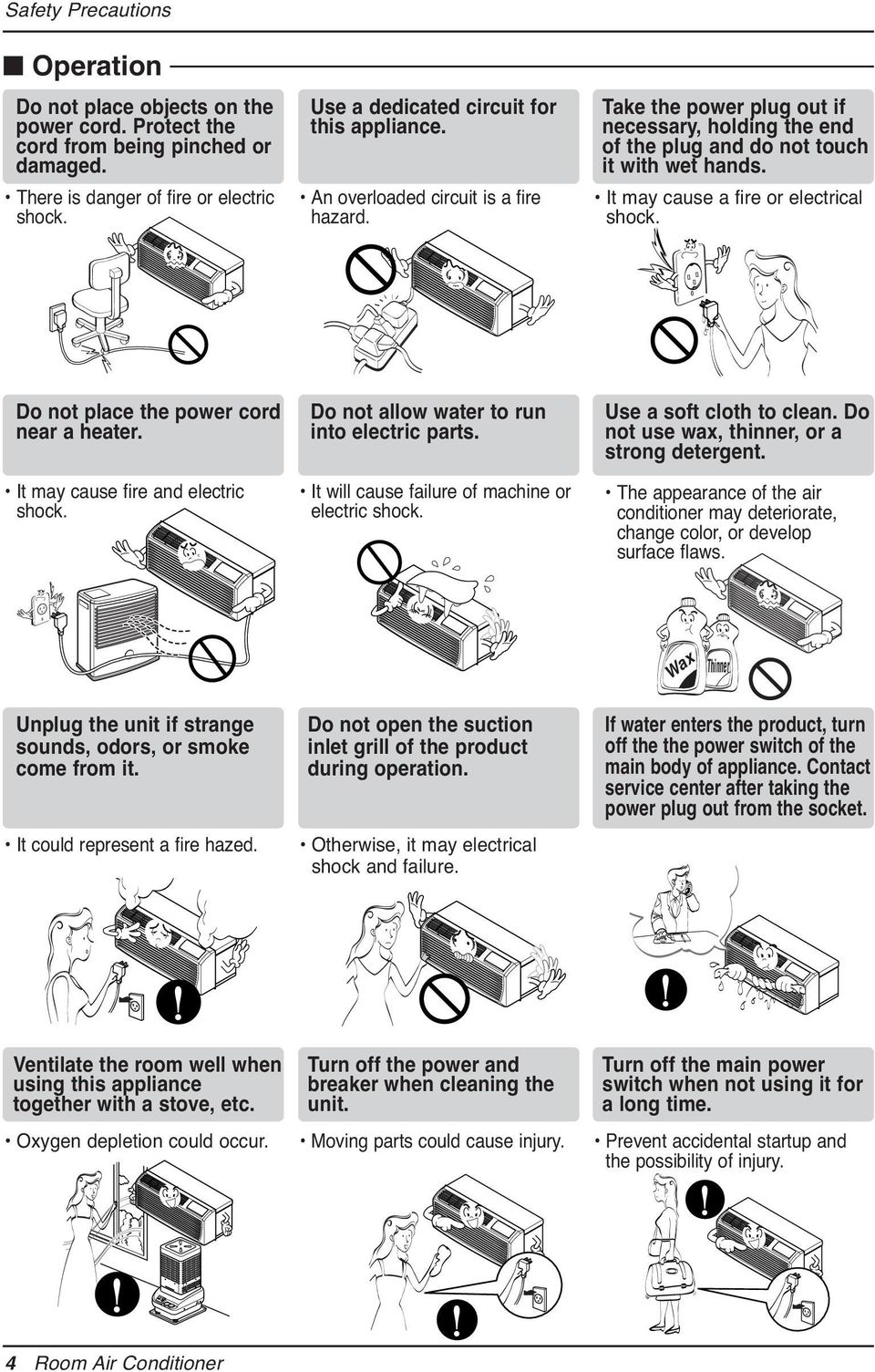 It may cause a fire or electrical shock. Do not place the power cord near a heater. It may cause fire and electric shock. Do not allow water to run into electric parts.