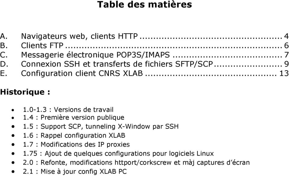 4 : Première version publique 1.5 : Support SCP, tunneling X-Window par SSH 1.6 : Rappel configuration XLAB 1.
