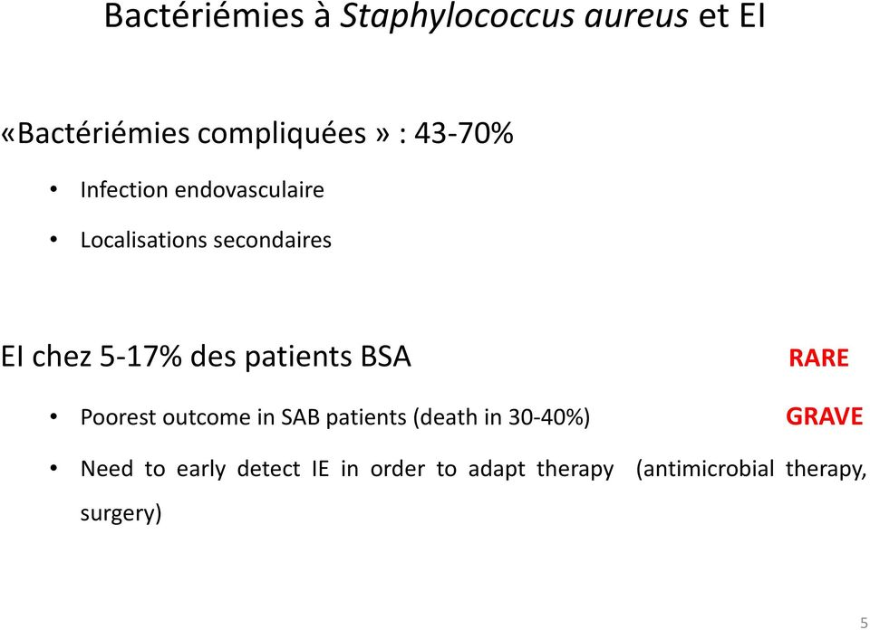 patients BSA RARE Poorest outcome in SAB patients (death in 30-40%) GRAVE