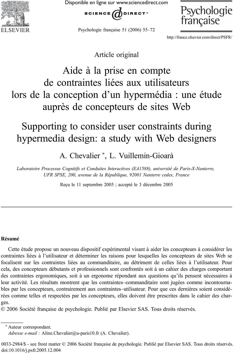 consider user constraints during hypermedia design: a study with Web designers A. Chevalier *, L.