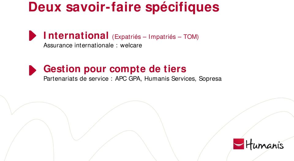 internationale : welcare Gestion pour compte de