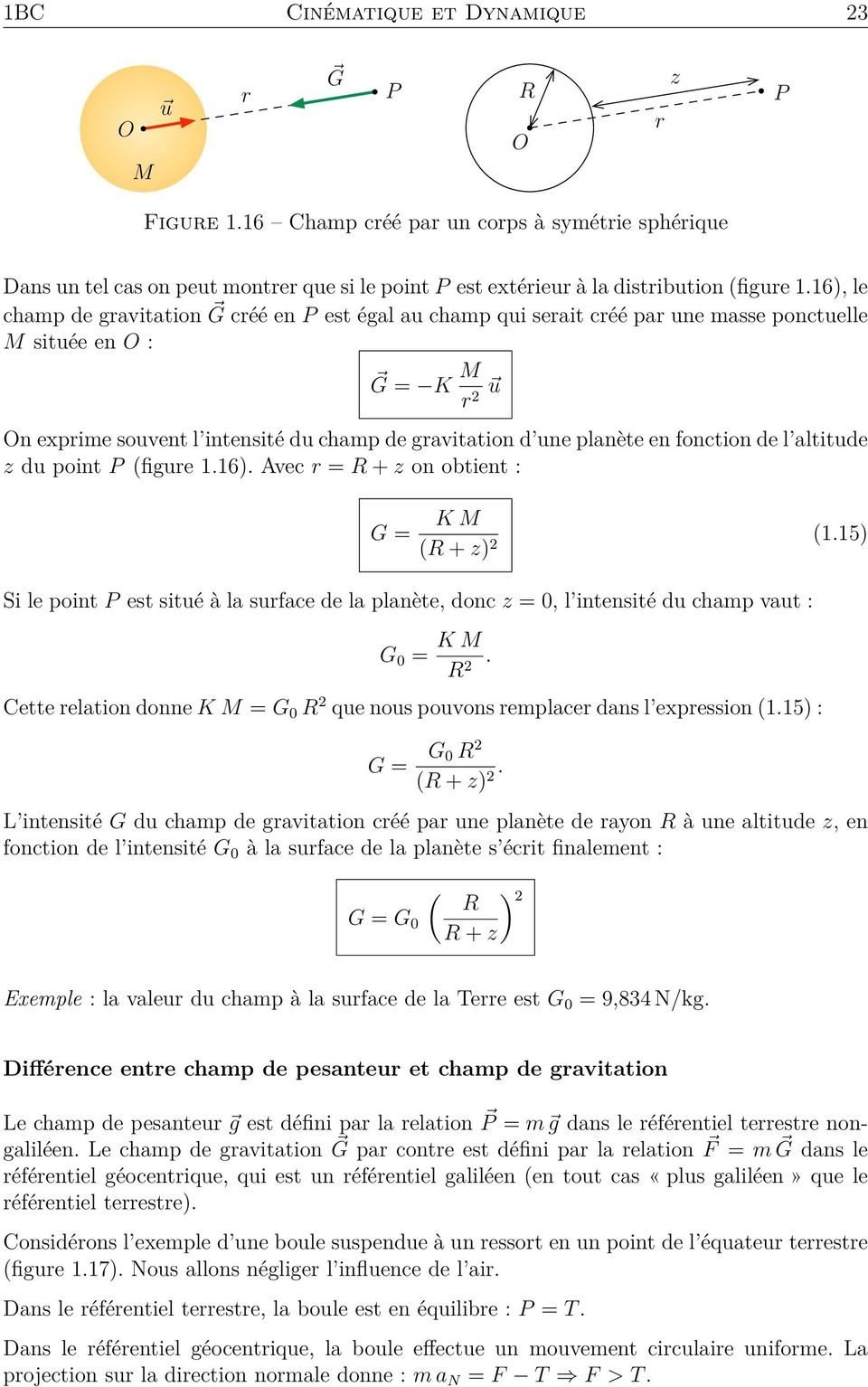 fonction de l altitude z du point P (figure 1.16). Avec r = R + z on obtient : G = K M (R + z) 2 (1.