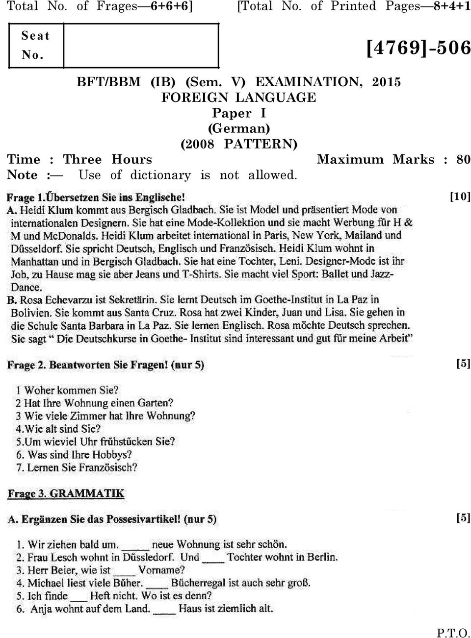 V) EXAMINATION, 2015 FOREIGN LANGUAGE Paper I (German) (2008