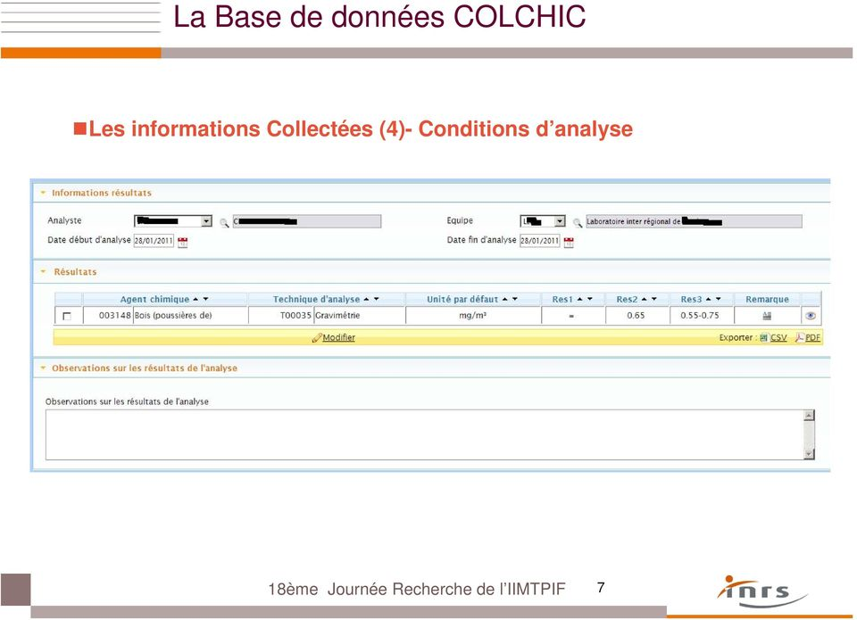 (4)- Conditions d analyse