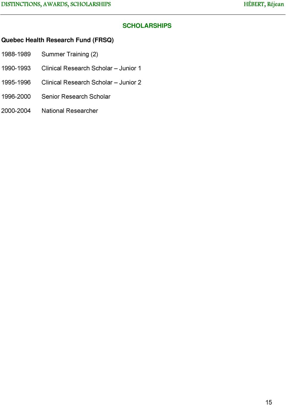 Clinical Research Scholar Junior 1 1995-1996 Clinical Research
