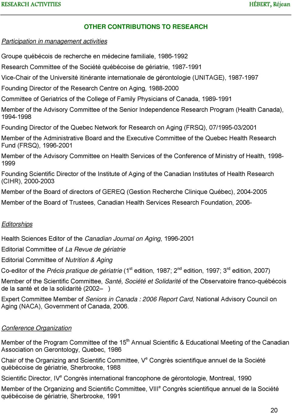 Geriatrics of the College of Family Physicians of Canada, 1989-1991 Member of the Advisory Committee of the Senior Independence Research Program (Health Canada), 1994-1998 Founding Director of the