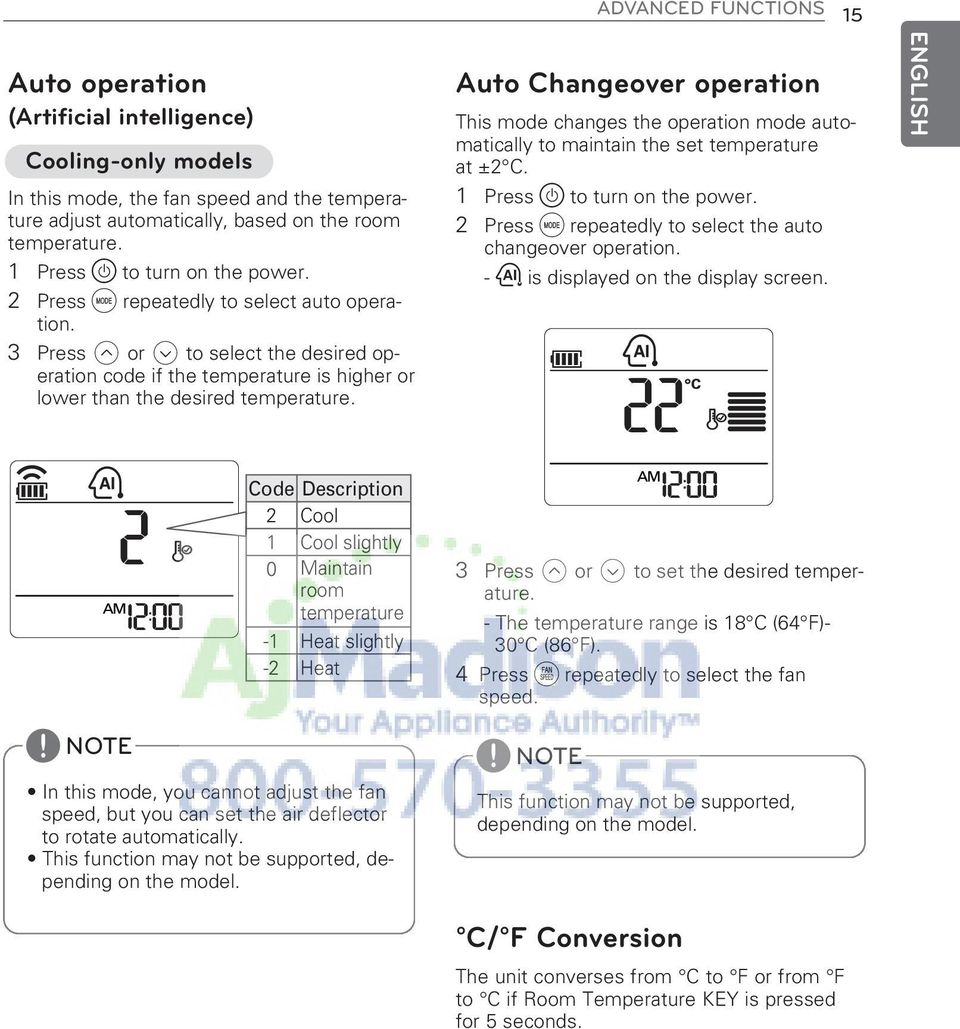 Auto Changeover operation This mode changes the operation mode automatically to maintain the set temperature at ±2 C. 1 Press to turn on the power.