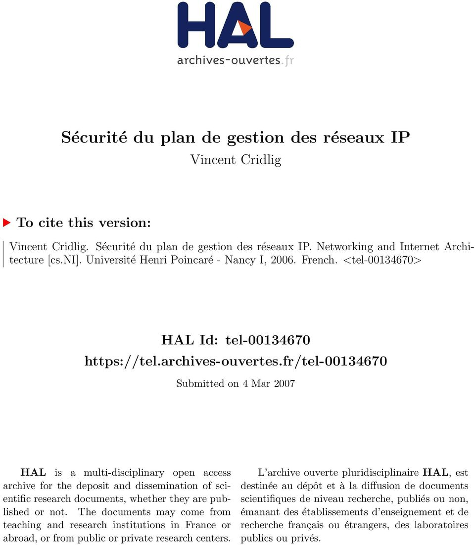 fr/tel-00134670 Submitted on 4 Mar 2007 HAL is a multi-disciplinary open access archive for the deposit and dissemination of scientific research documents, whether they are published or not.