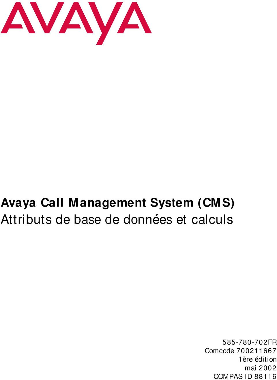 calculs 585-780-702FR Comcode