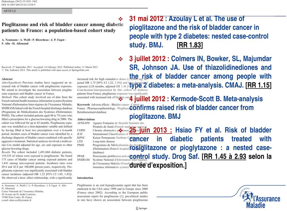 Use of thiazolidinediones and the risk of bladder cancer among people with type 2 diabetes: a meta-analysis. CMAJ. [RR 1.15] 4 juillet 2012 : Kermode-Scott B.
