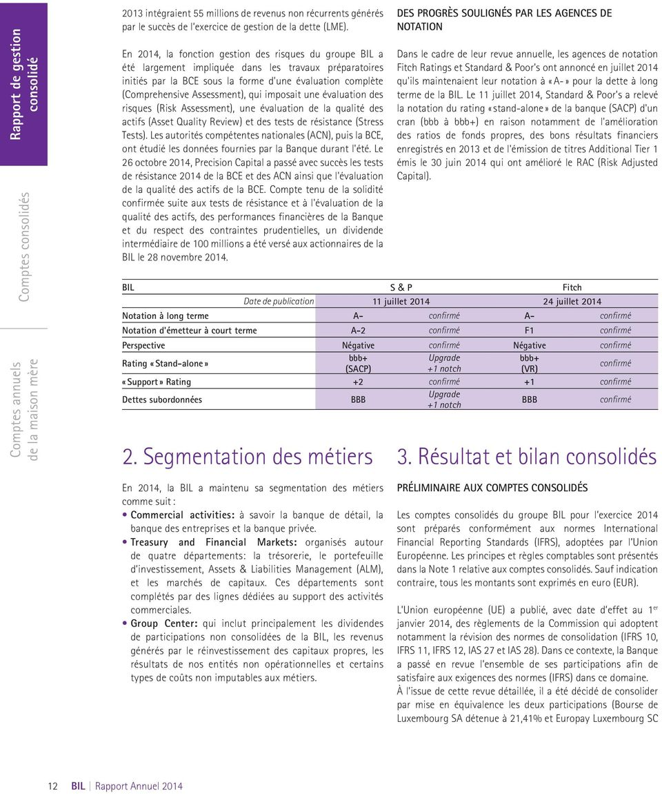 qui imposait une évaluation des risques (Risk Assessment), une évaluation de la qualité des actifs (Asset Quality Review) et des tests de résistance (Stress Tests).