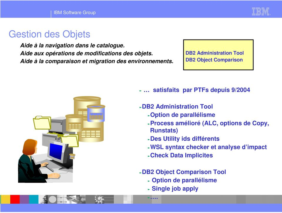 DB2 Administration Tool DB2 Object Comparison c satisfaits par PTFs depuis 9/2004 cdb2 Administration Tool coption de
