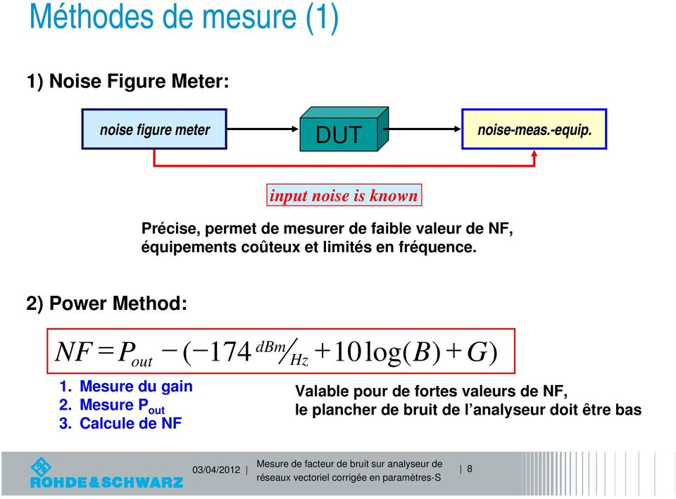 imités en fréquence. 2) Power ethod: NF P out 1. esure du gain 2. esure P out 3.