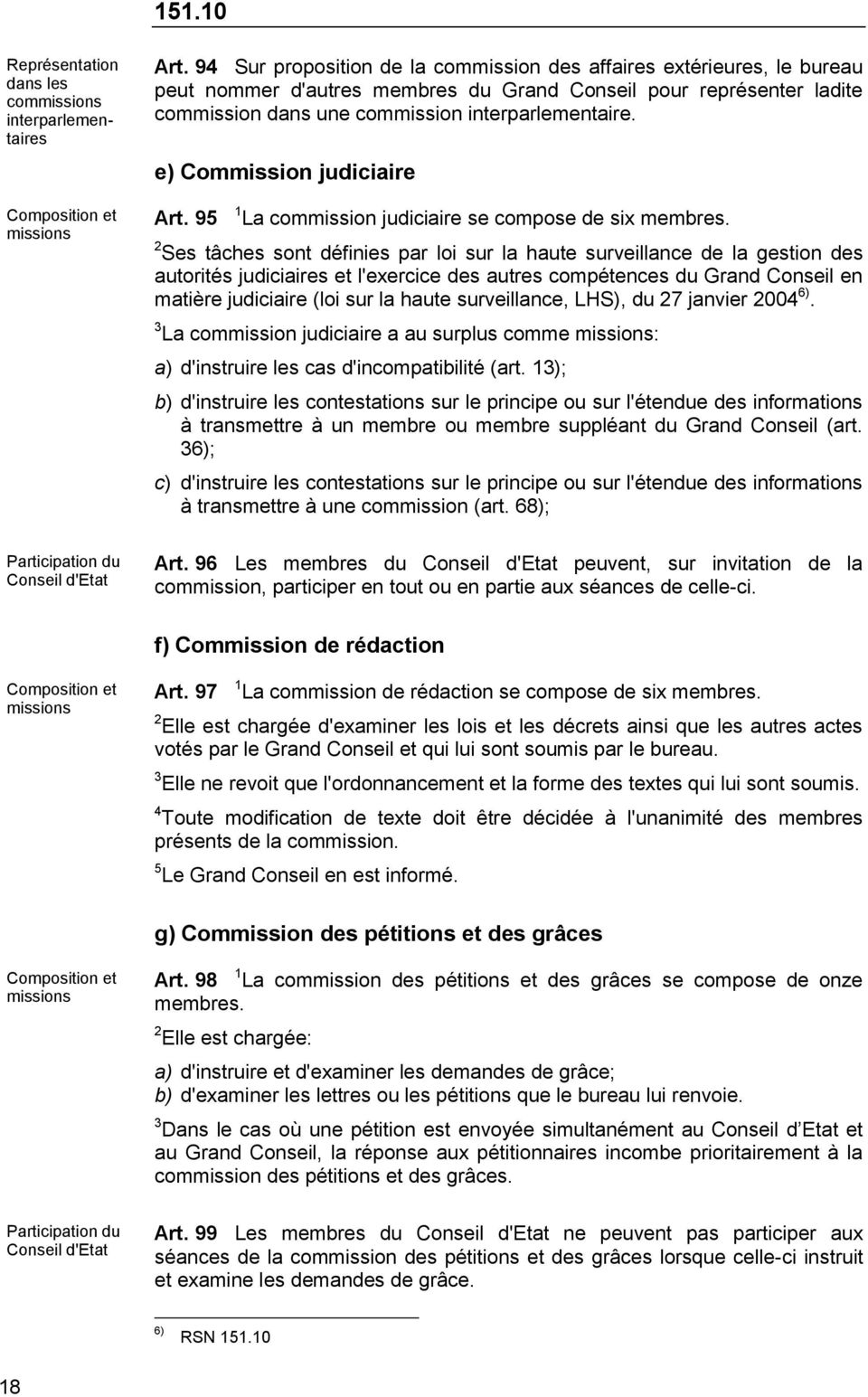e) Commission judiciaire Art. 95 1 La commission judiciaire se compose de six membres.
