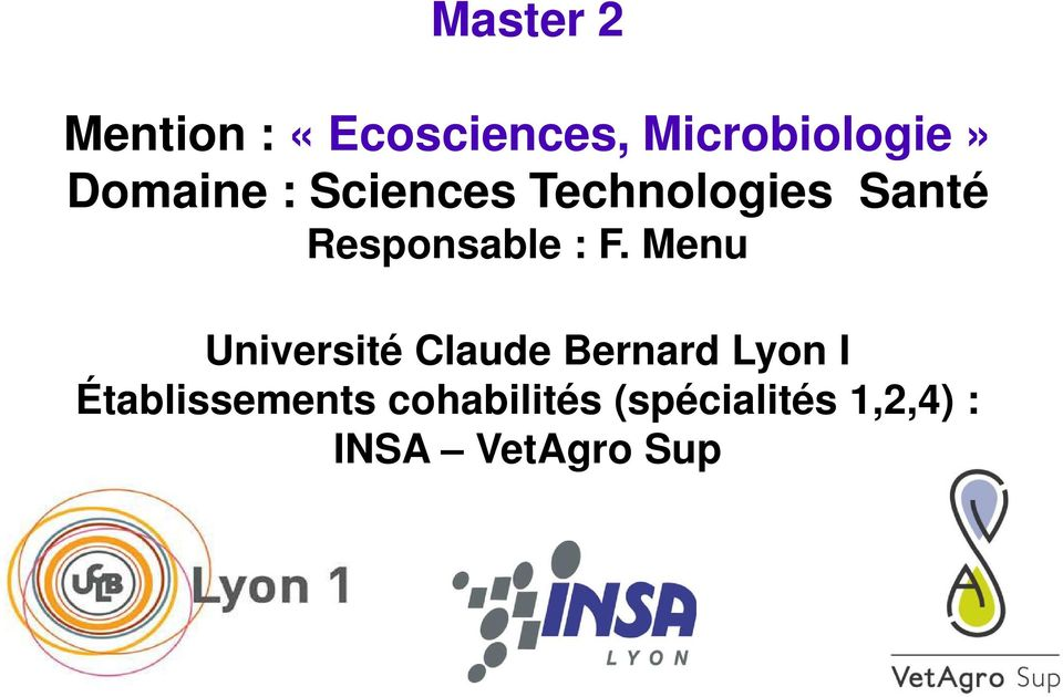 F. Menu Université Claude Bernard Lyon I
