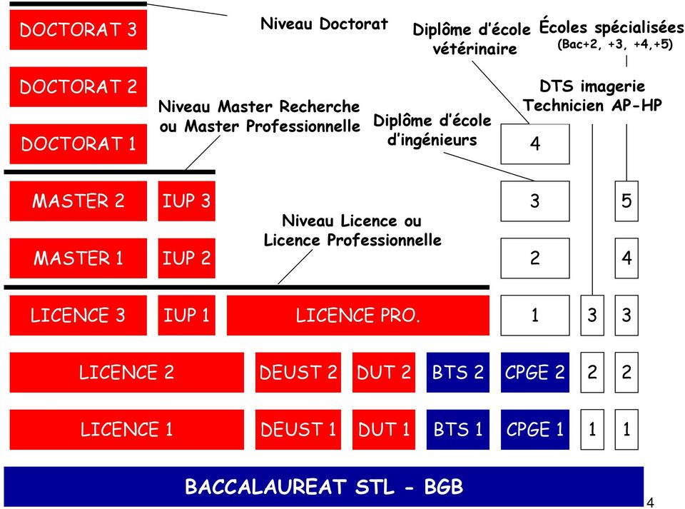 Technicien AP-HP 4 MASTER 2 MASTER 1 IUP 3 IUP 2 Niveau Licence ou Licence Professionnelle 3 2 5 4 LICENCE 3