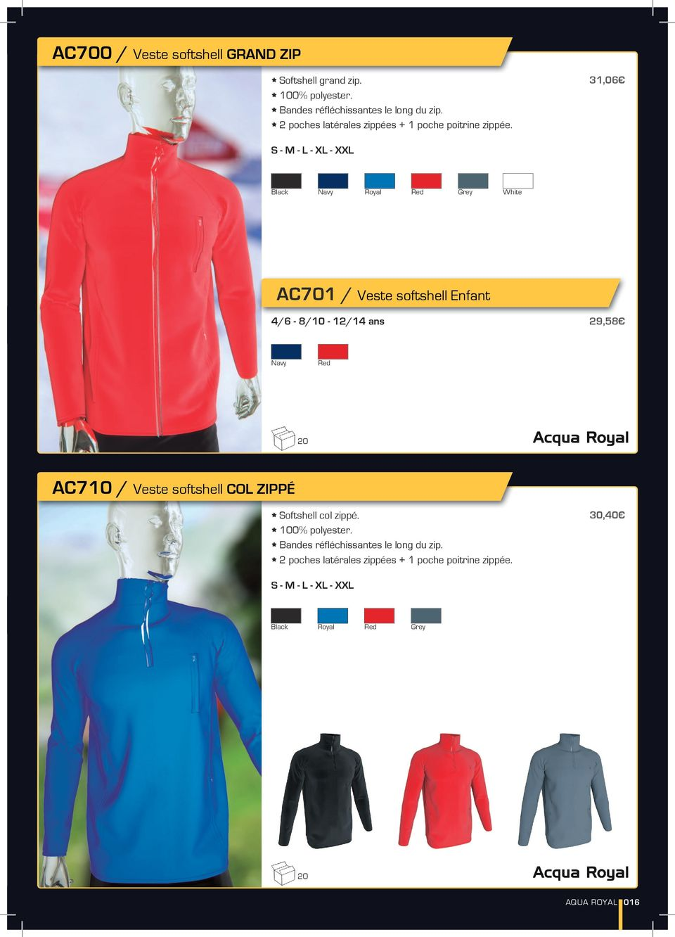 31,06 S - XL - XXL Black Navy Royal Red Grey White AC701 / Veste softshell Enfant 4/6-8/10-12/14 ans 29,58 Navy Red 20 AC710 /