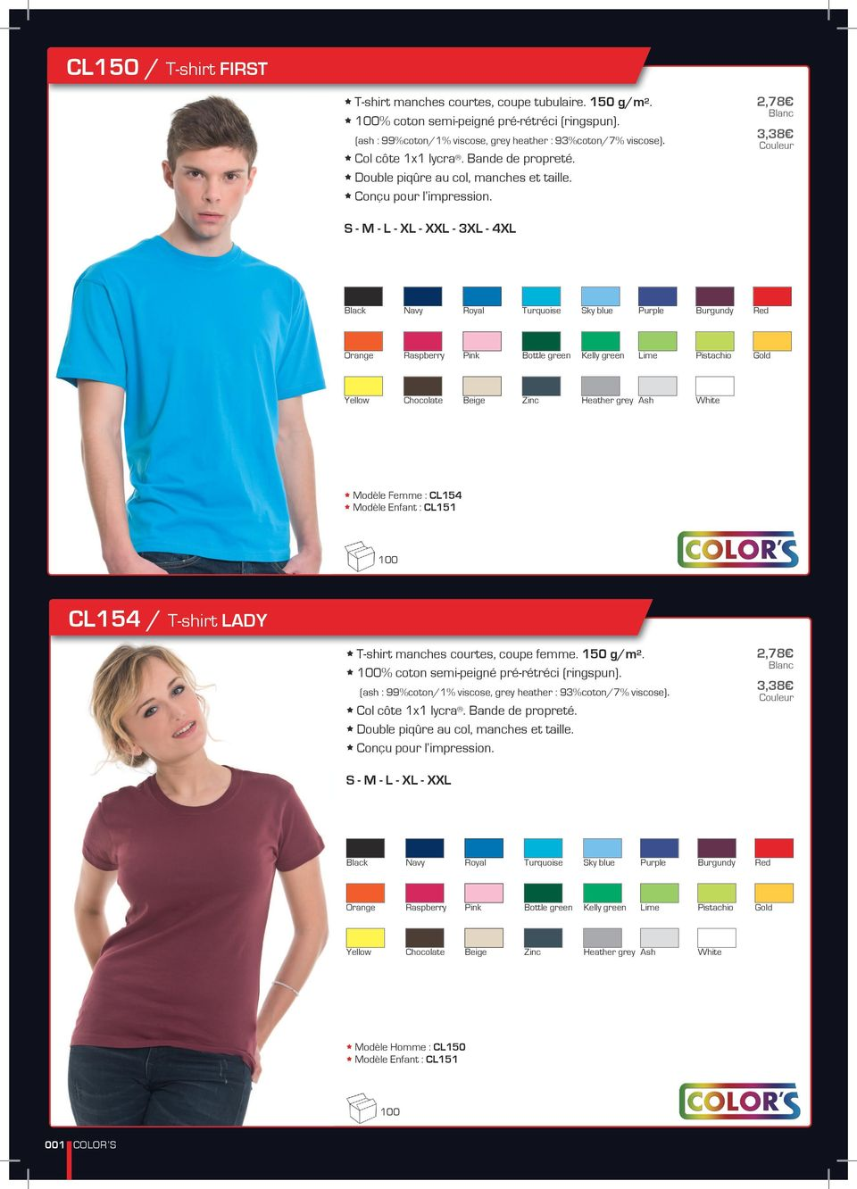 2,78 3,38 S - XL - XXL - 3XL - 4XL Black Navy Royal Turquoise Sky blue Purple Burgundy Red Orange Raspberry Pink Bottle green Kelly green Lime Pistachio Gold Yellow Chocolate Beige Zinc Heather grey