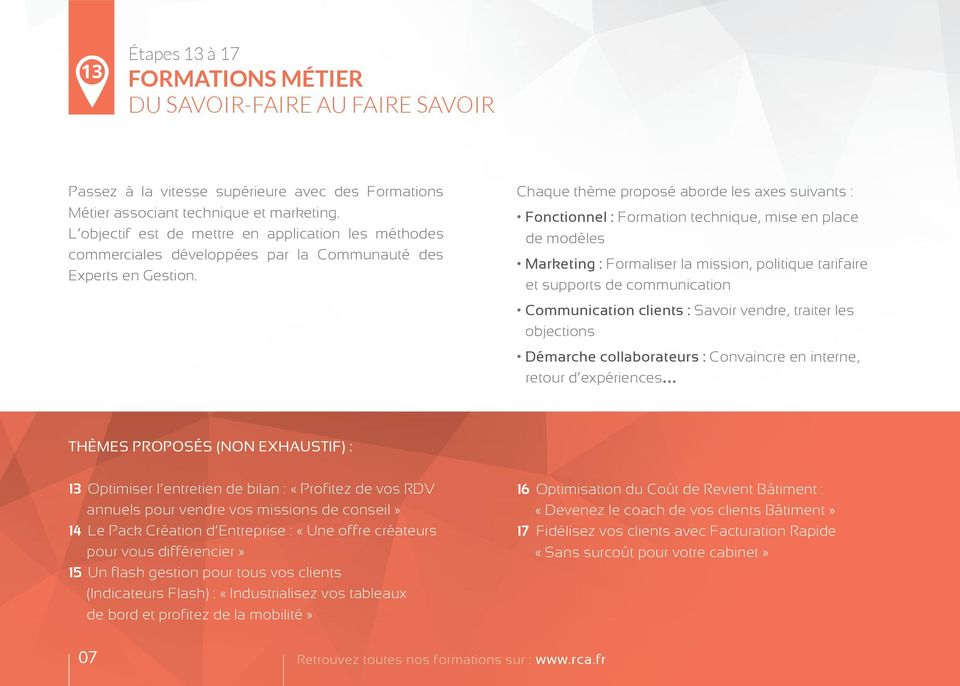 Chaque thème proposé aborde les axes suivants : Fonctionnel : Formation technique, mise en place de modèles Marketing : Formaliser la mission, politique tarifaire et supports de communication