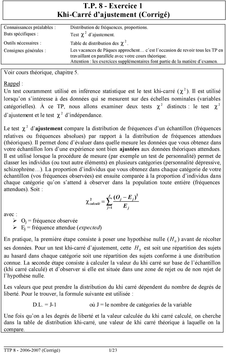 T p 8 exercice 1 khi carr d ajustement corrig pdf for Table khi carre