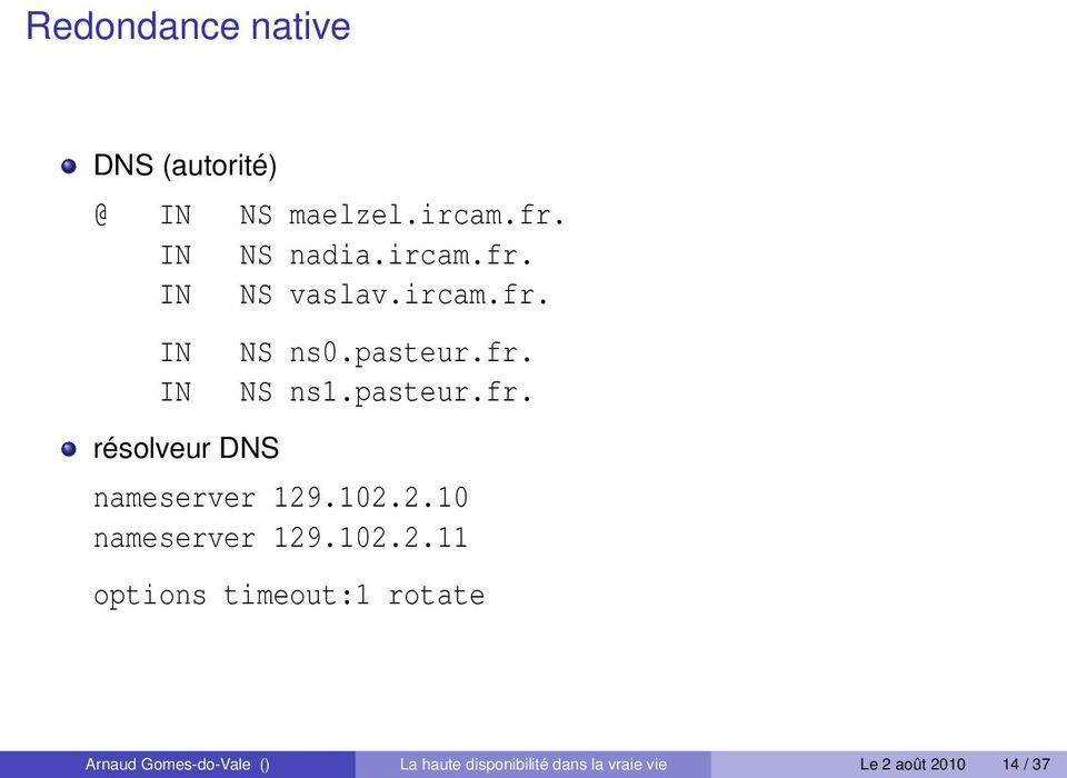 102.2.10 nameserver 129.102.2.11 options timeout:1 rotate Arnaud Gomes-do-Vale