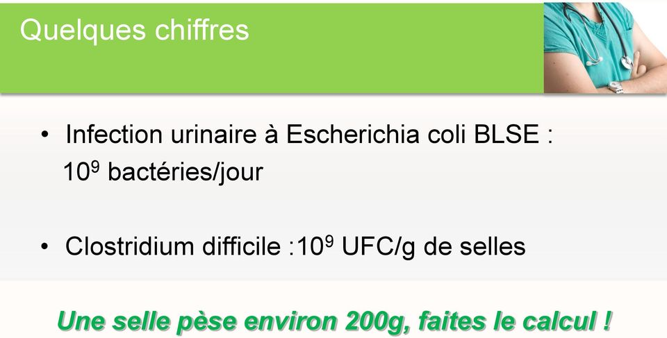 Clostridium difficile :10 9 UFC/g de selles