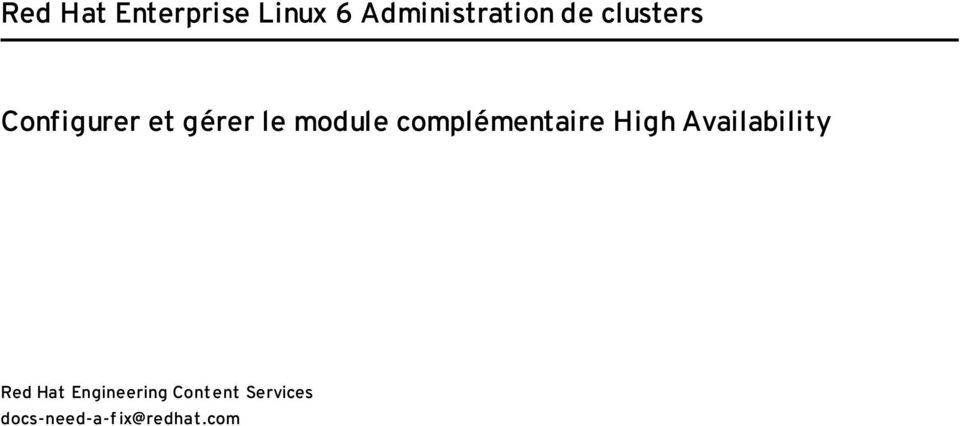 complémentaire High Availability Red Hat
