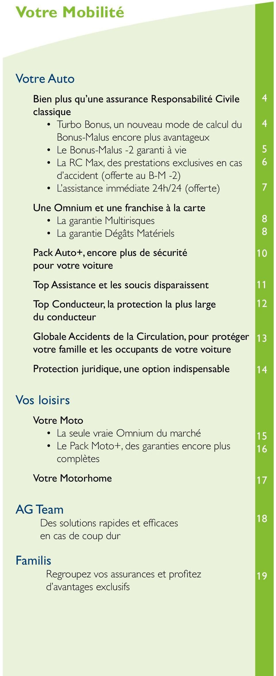 Matériels Pack Auto+, encore plus de sécurité pour votre voiture Top Assistance et les soucis disparaissent Top Conducteur, la protection la plus large du conducteur Globale Accidents de la