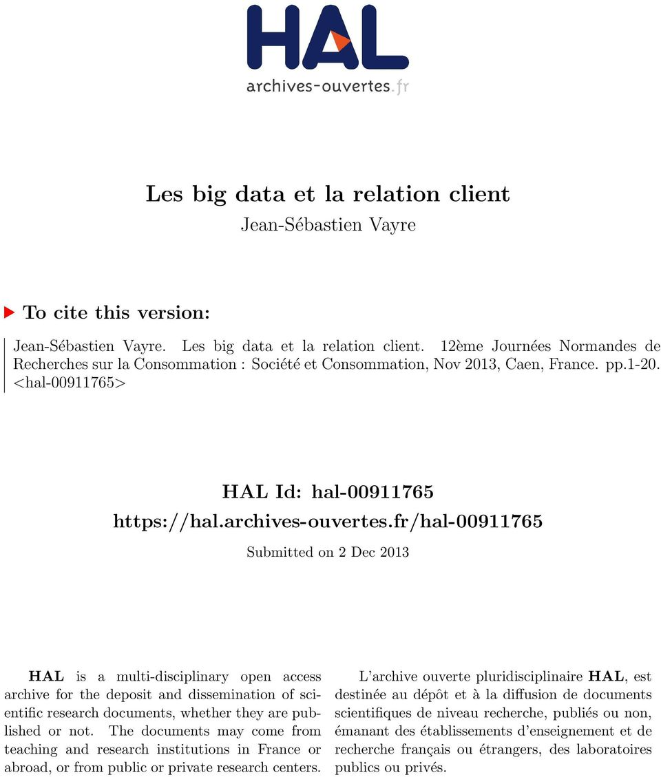 fr/hal-00911765 Submitted on 2 Dec 2013 HAL is a multi-disciplinary open access archive for the deposit and dissemination of scientific research documents, whether they are published or not.