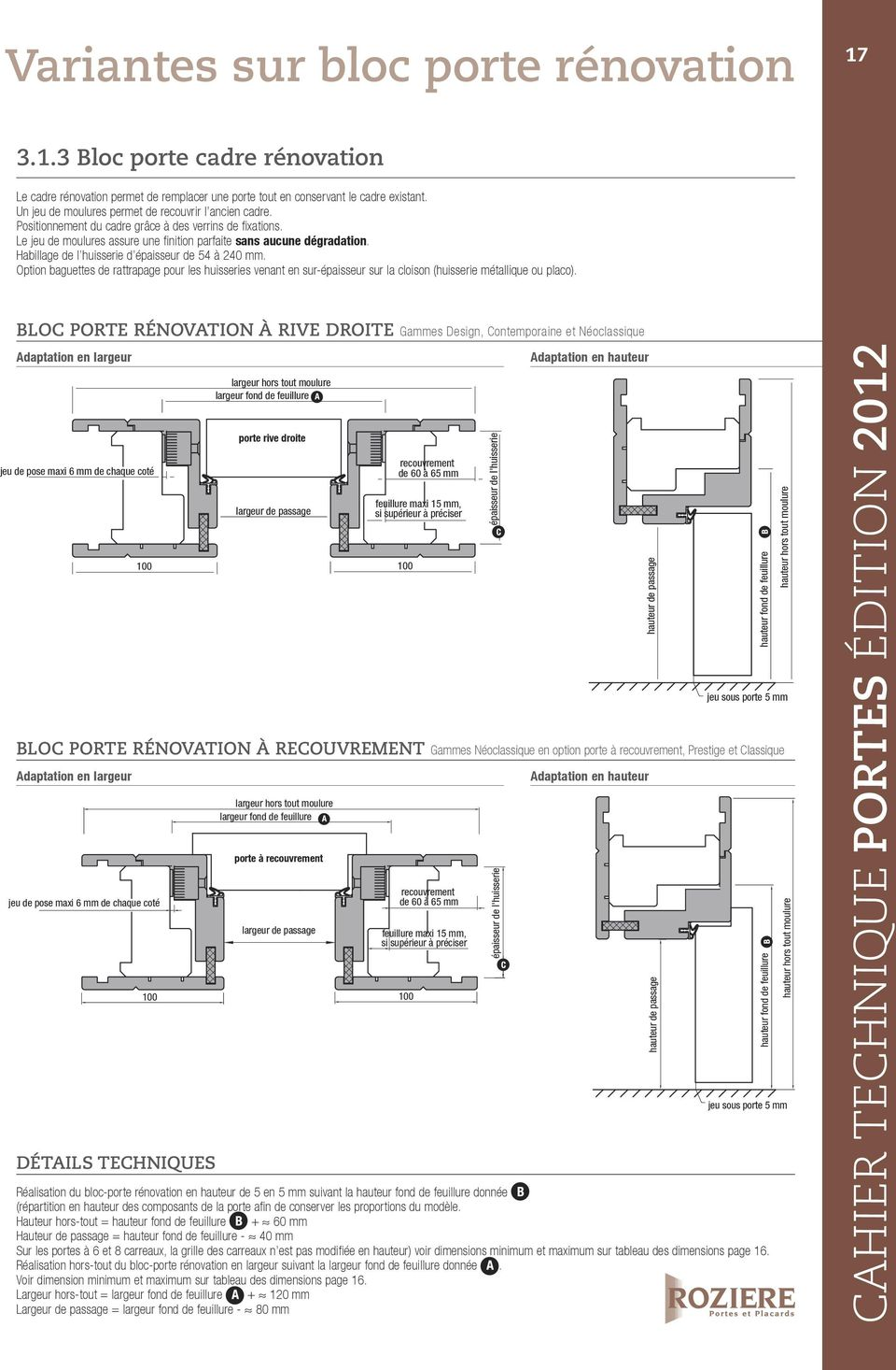 Standard et sur mesure cahier technique portes placards for Bloc porte renovation form