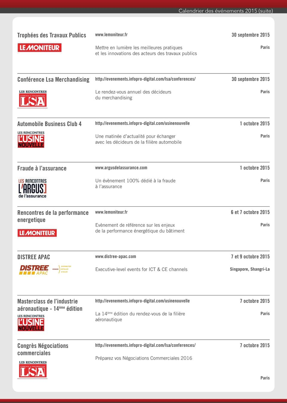 com/lsa/conferences/ Le rendez-vous annuel des décideurs du merchandising 30 septembre 2015 Automobile Business Club 4 Une matinée d actualité pour échanger avec les décideurs de la filière